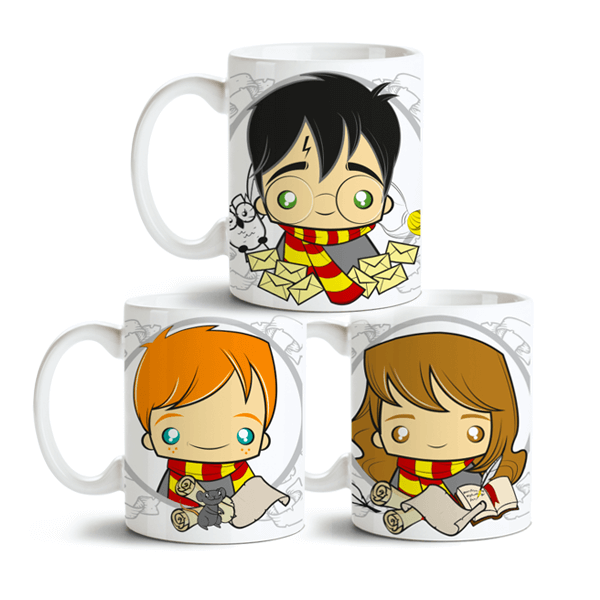 Conjunto de Canecas Harry Potter - Harry, Roni e Hermione 1